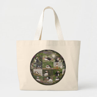 Puffin Collage Large Tote Bag