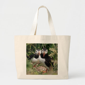 Puffin Couple Large Tote Bag