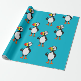 Puffin design wrapping paper
