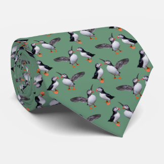 Puffin Frenzy 2 Tie (Green)