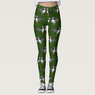 Puffin Frenzy Leggings (Dark Green)