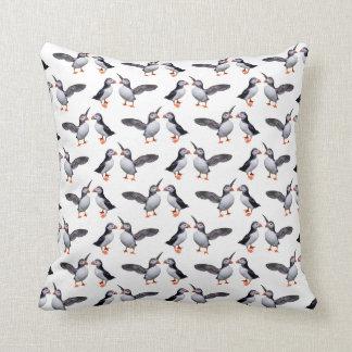 Puffin Frenzy Pillow (White)
