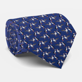 Puffin Frenzy Tie (Light/Dark Blue)