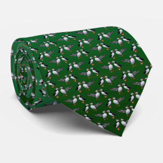 Puffin Frenzy Tie (Light/Dark Green)