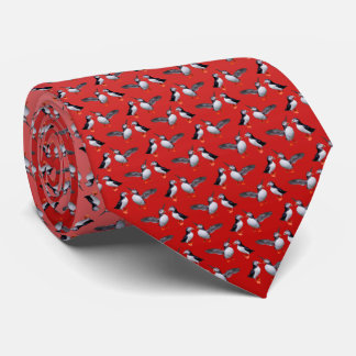 Puffin Frenzy Tie (Pink/Red)