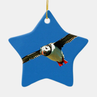 Puffin in flight skellig Islands Ireland Christmas Ornament