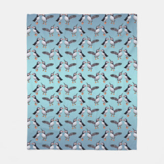 Puffin Pals Fleece Blanket (Light Blue Mix)