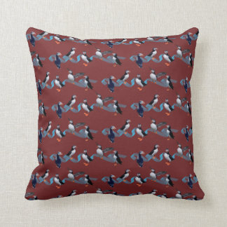 Puffin Party Pillow (Burgundy)