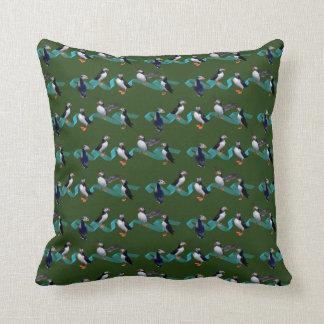 Puffin Party Pillow (Dark Green)