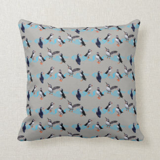 Puffin Party Pillow (Grey)