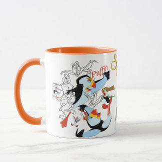 Puffin Sketch Mug with Colored Rim&Handle