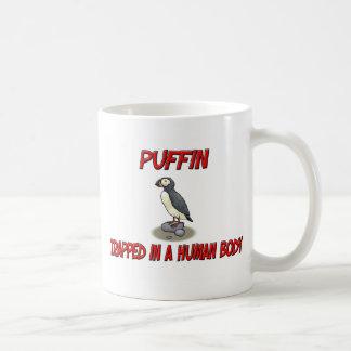 Puffin trapped in a human body coffee mug