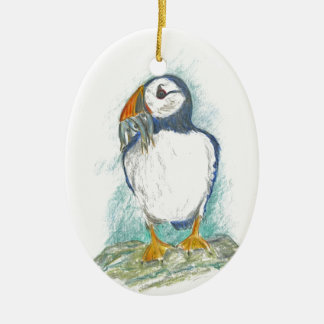 Puffin with Fish Snack Ceramic Oval Decoration
