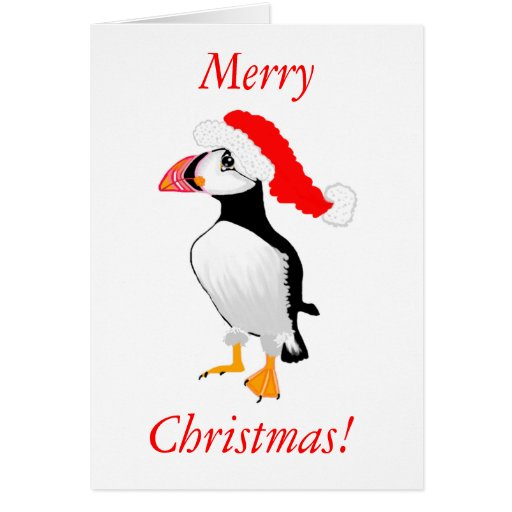 Puffin With Santa Hat Greeting Cards