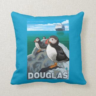 Puffins & Cruise Ship - Douglas, Alaska Cushion