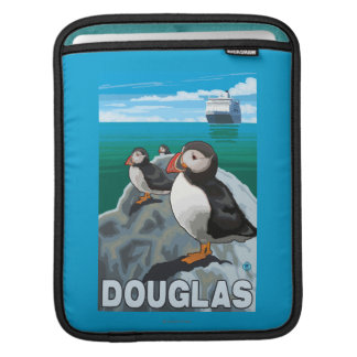 Puffins & Cruise Ship - Douglas, Alaska iPad Sleeves