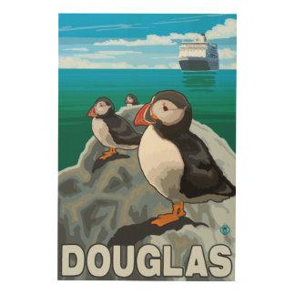 Puffins & Cruise Ship - Douglas, Alaska Wood Wall Art