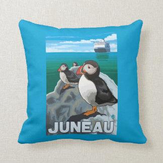 Puffins & Cruise Ship - Juneau, Alaska Cushion