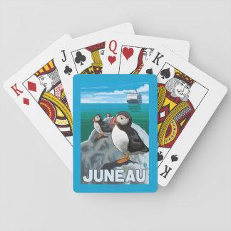 Puffins & Cruise Ship - Juneau, Alaska Poker Deck