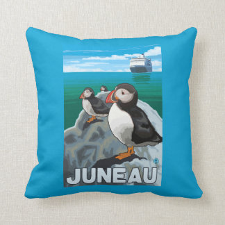 Puffins & Cruise Ship - Juneau, Alaska Throw Pillow