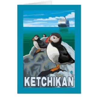 Puffins & Cruise Ship - Ketchikan, Alaska Card