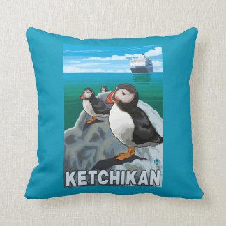 Puffins & Cruise Ship - Ketchikan, Alaska Cushion