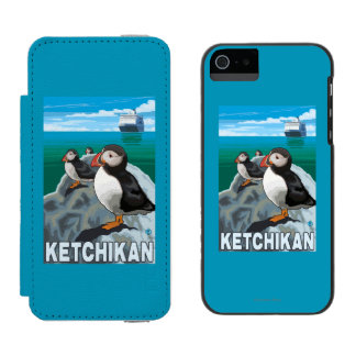 Puffins & Cruise Ship - Ketchikan, Alaska Incipio Watson™ iPhone 5 Wallet Case