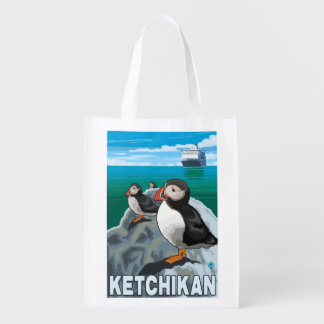 Puffins & Cruise Ship - Ketchikan, Alaska Reusable Grocery Bag