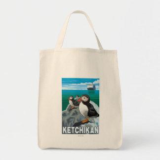 Puffins & Cruise Ship - Ketchikan, Alaska Tote Bag