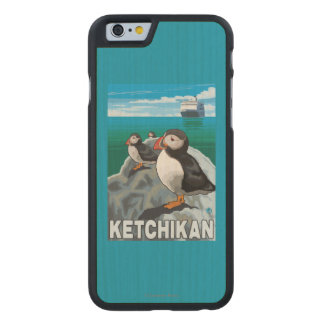 Puffins & Cruise Ship - Ketchikan, Alaska Carved® Maple iPhone 6 Slim Case