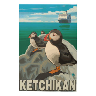 Puffins & Cruise Ship - Ketchikan, Alaska Wood Print