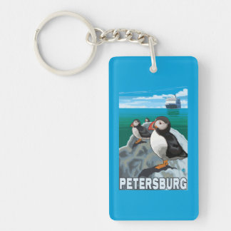 Puffins & Cruise Ship - Petersburg, Alaska Double-Sided Rectangular Acrylic Key Ring