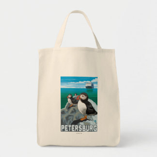 Puffins & Cruise Ship - Petersburg, Alaska Tote Bag