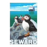 Puffins & Cruise Ship - Seward, Alaska Gallery Wrap Canvas