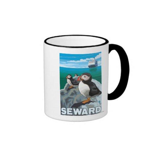 Puffins & Cruise Ship - Seward, Alaska Mugs