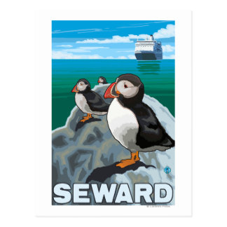 Puffins & Cruise Ship - Seward, Alaska Postcard
