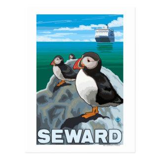 Puffins & Cruise Ship - Seward, Alaska Postcard