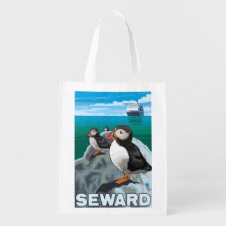 Puffins & Cruise Ship - Seward, Alaska Reusable Grocery Bag
