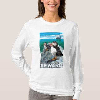 Puffins & Cruise Ship - Seward, Alaska T-Shirt