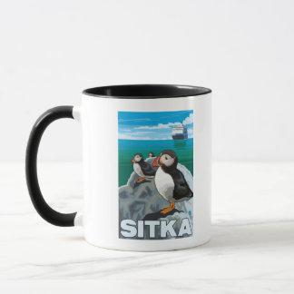 Puffins & Cruise Ship - Sitka, Alaska Mug