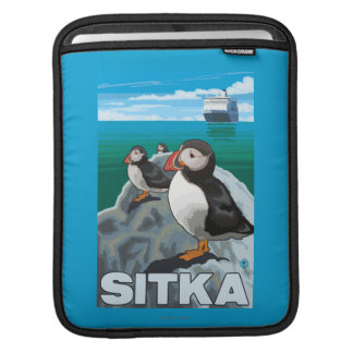 Puffins & Cruise Ship - Sitka, Alaska Sleeves For iPads