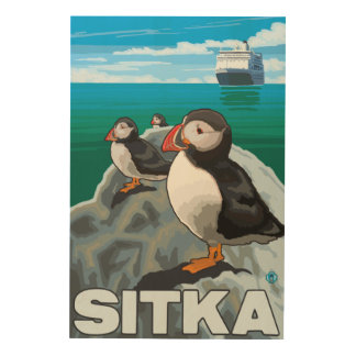 Puffins & Cruise Ship - Sitka, Alaska Wood Print