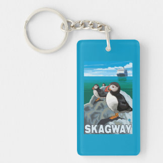 Puffins & Cruise Ship - Skagway, Alaska Double-Sided Rectangular Acrylic Key Ring