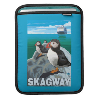 Puffins & Cruise Ship - Skagway, Alaska Sleeves For iPads