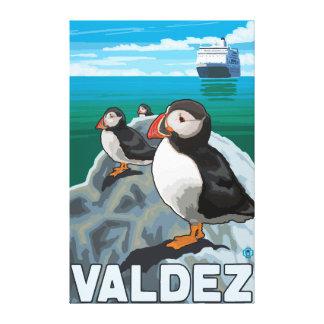Puffins & Cruise Ship - Valdez, Alaska Canvas Print