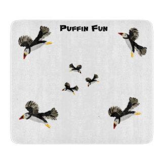 Puffins Flying Bird Art Cutting Board