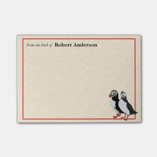 Puffins From the Desk of 4x3 Post It Note Pad