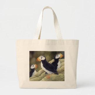 Puffins Large Tote Bag