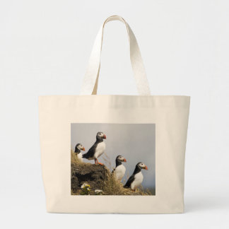 Puffins Large Tote Bag