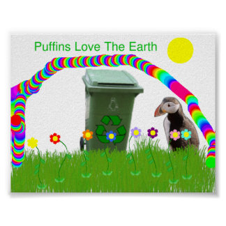 Puffins Love The Earth Poster